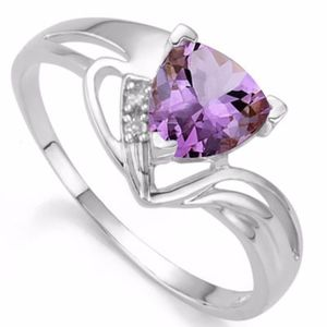 Ring 2/3 Ct Amethyst & Diamond 925 Sterling Silver